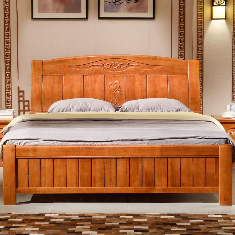 New Chinese style all solid wood bed, 1.5 meters, 1.8 meters double beds, oak furniture, solid wood bed, high box bed