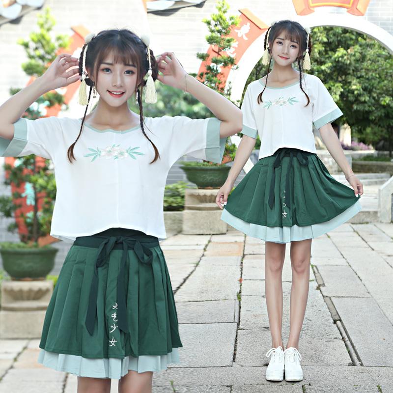 8768改良汉服女坦领上衣短裙套装元气少女复古汉元素民族风绣花夏