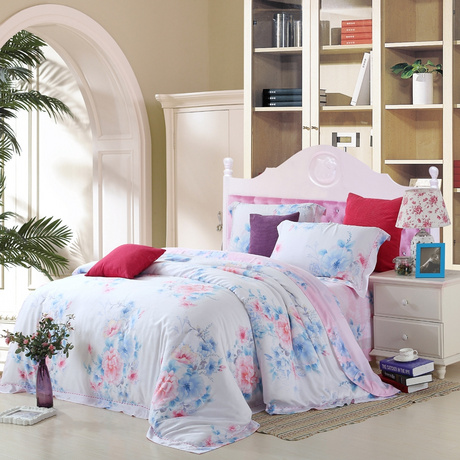 The new spring and summer European wedding bedding 60 very cool double-sided pure Tencel four piece of frant rhyme