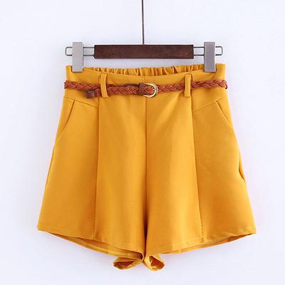 夏季新款糖果色时尚百搭中腰显瘦直筒裤短裤收腰热裤显瘦休闲裤