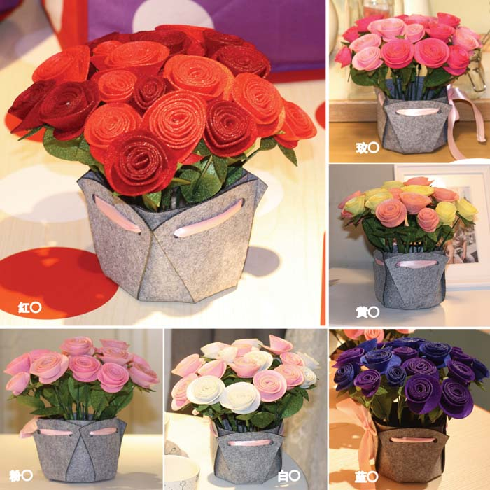 Handmade flower gift nonwoven handmade cloth material package potted roses simulation