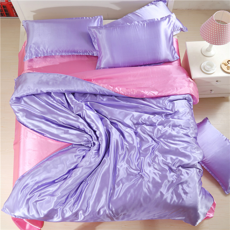 In the summer of four piece silk satin plain silk bedding Tencel bedding naked 1.8m special offer