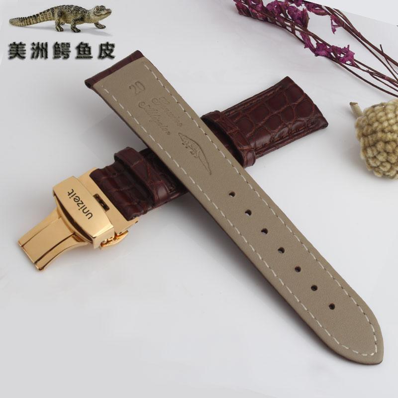 a 立时 2017. bekezdés alkalmazandó általános unizeit krokodilbőr bőr szíj 蝴蝶扣 szerelvények 1820.