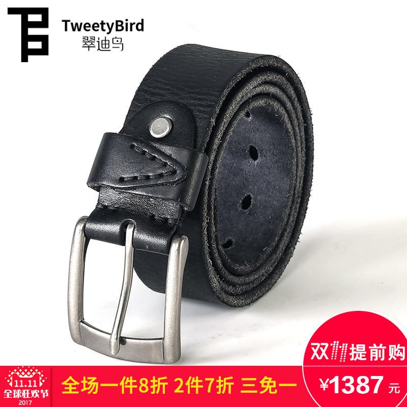 翠迪鳥Tweetybirdビジネスレジャー頭階牛皮無地シンプルベルト個性ファッション紳士ベルト