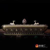 Buddhist supplies, Tibetan incense burner, alloy gold plated, large, three colors, six words, eight words, auspicious incense, incense burner, pure copper