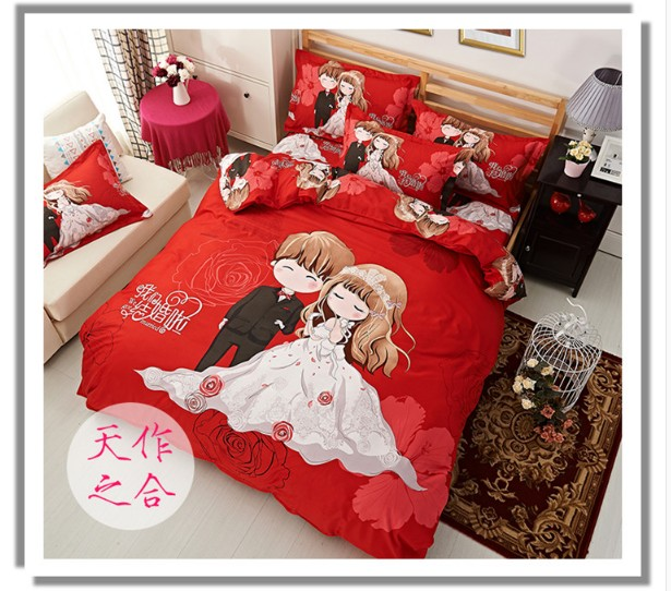 Soft summer room model room red Chinese bed four pieces of Tencel sheets contracted cotton fabric in early spring