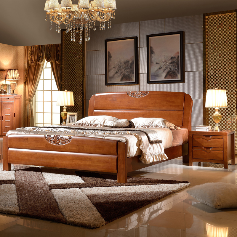 All solid wood bed, 1.8 meters double bed, 1.5m pressure, high box, simple modern Chinese bed, oak bedroom furniture