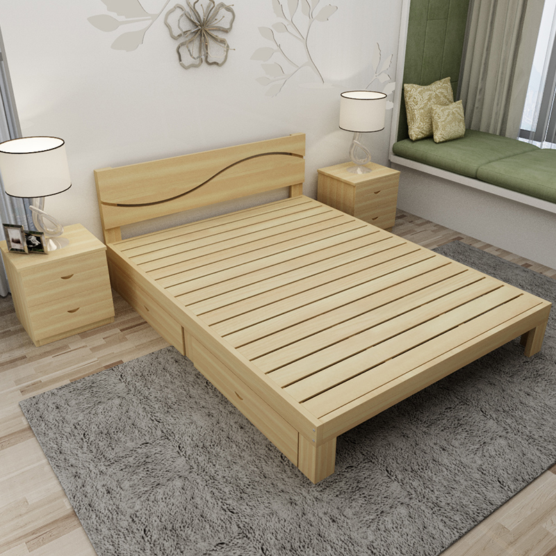 Rental all solid wood bed room boys daughter Princess wooden bed wood matting of children and adults