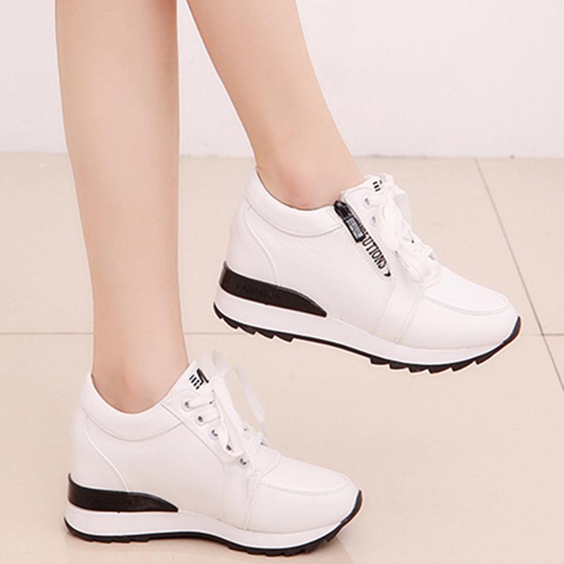 天天特價內增高女鞋加絨韓版百搭小白鞋坡跟女單鞋厚底運動休閑鞋
