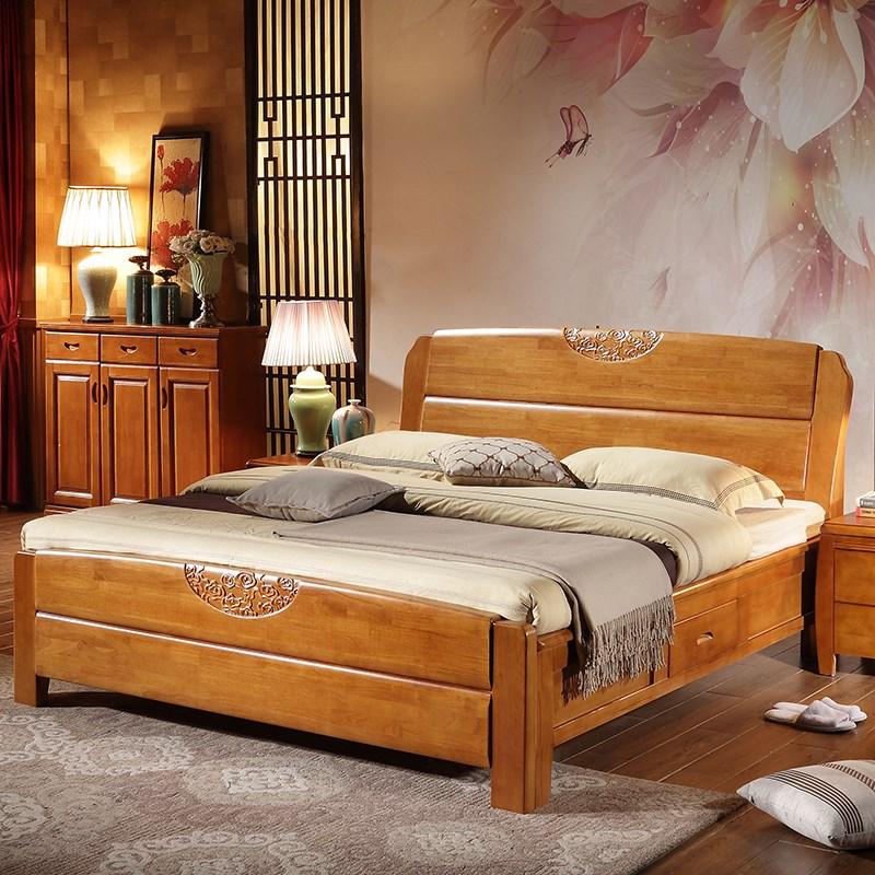 Special offer all solid wood bed, 1.51.8 meters oak bed, double simple Chinese furniture, high box storage marriage bed 5 bags