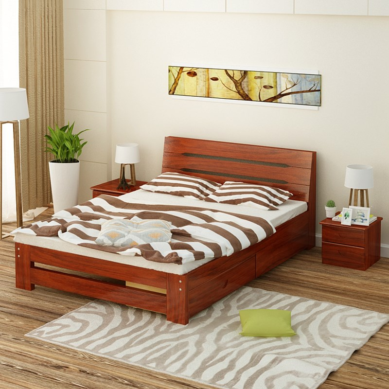 Solid wood bed master, double 1.5m1.8 meters, modern simple economy, high box storage, oak color Chinese style furniture