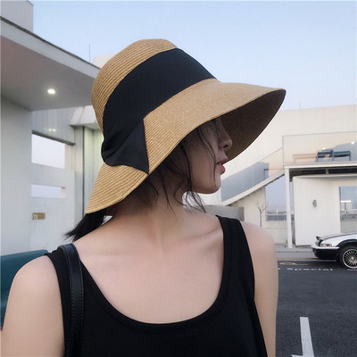 Sunshade Hat fold-able French bow retro grass hat female summer vacation beach hat big hat visor
