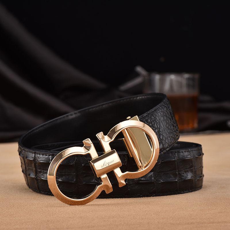 8 el hombre de doble palabra cinturón de hebilla de cinturón de cuero de vaca automático de flujo de Negocios de ocio el cinturón de cuero de doble uso