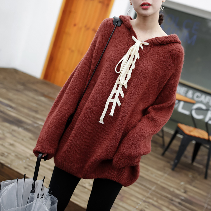 JHXC soft waxy chest bandage loose long sleeved Pullover coarse wool Hooded Sweater female winter thin sweater