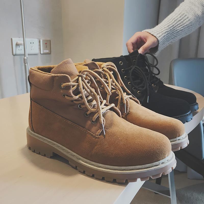 方少男装冬季男士磨砂高帮情侣韩版高跟男女青年休闲鞋潮流马丁靴