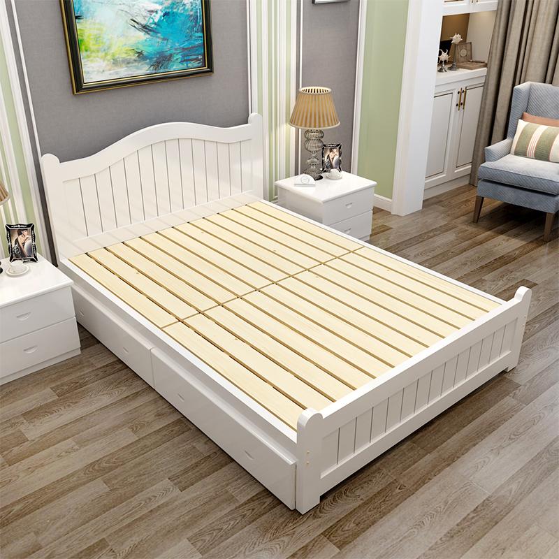 Solid wood bed, 1.5 meters single bed, 1.2 meters oak double bed, 1.35 meters bed, 1 adult bed board