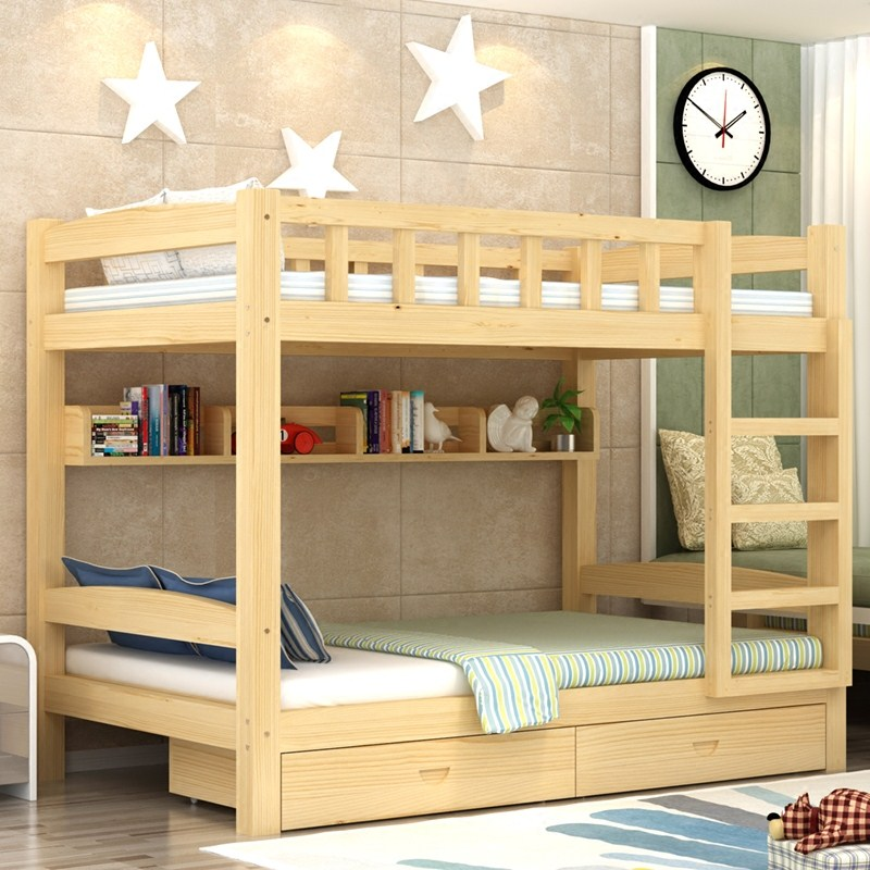 The Mediterranean wood multifunctional child bed bunk bed adult double bed bed bed mother combination under the single bed