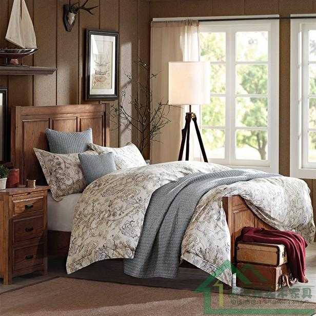 French country Retro Old American country high-grade wood double bedroom furniture --- modern marriage bed