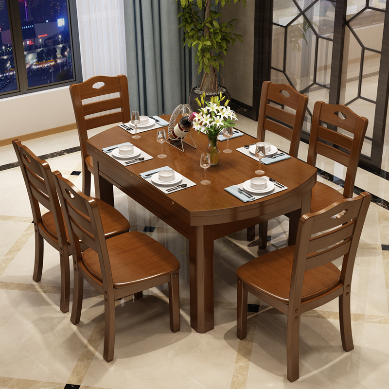 Nordic new all solid wood dining table, small family rectangular, family folding retractable 4-6 people dining table and chair combination