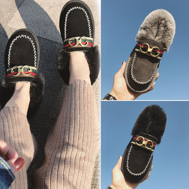 韩版冬季雪地靴女面包毛毛棉鞋子一脚蹬加绒保暖百搭学生平底豆豆