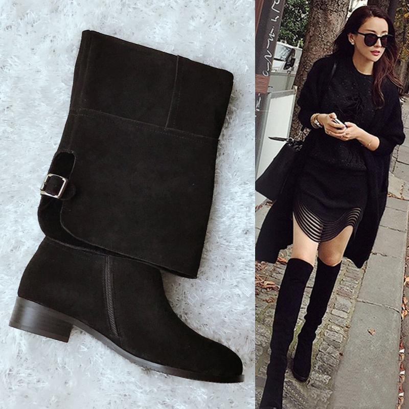 La venta de otoño de nuevo toda Europa bajo la rodilla botas de piel delgada con botas de cuero, botas de caña alta con fondo plano