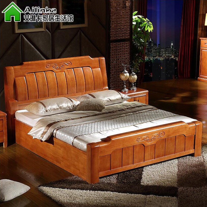 Ai Linka all solid wood high grade double bed oak bed 1.8 meters modern Chinese high box storage bed wedding bed