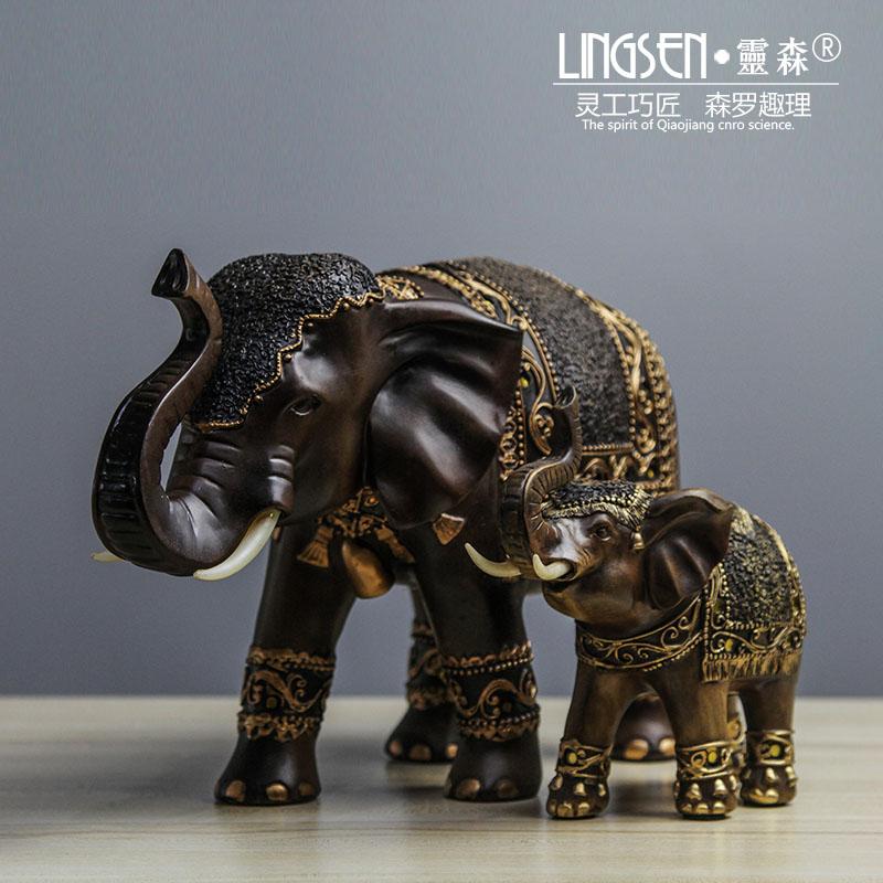 歐式復古小象歐式復古樹脂雕刻動物工藝品歐美式中式新古典室內家庭軟裝飾擺件