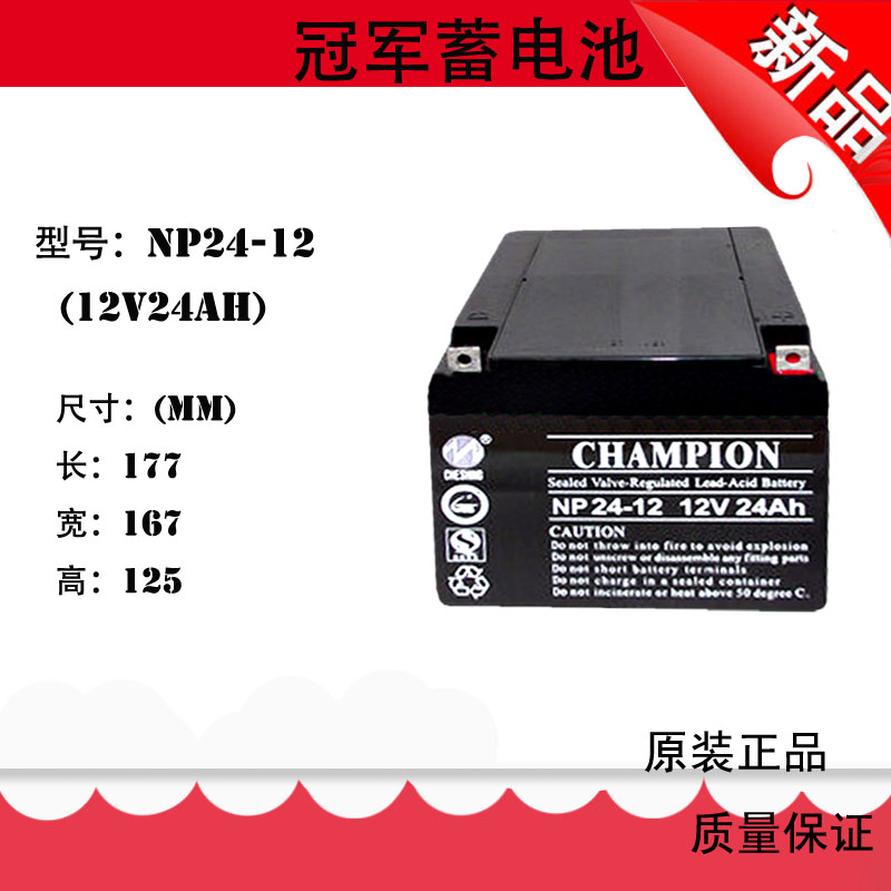 Champion battery NP24-12 champion battery 12V24AH lead acid free maintenance UPS valve controlled battery