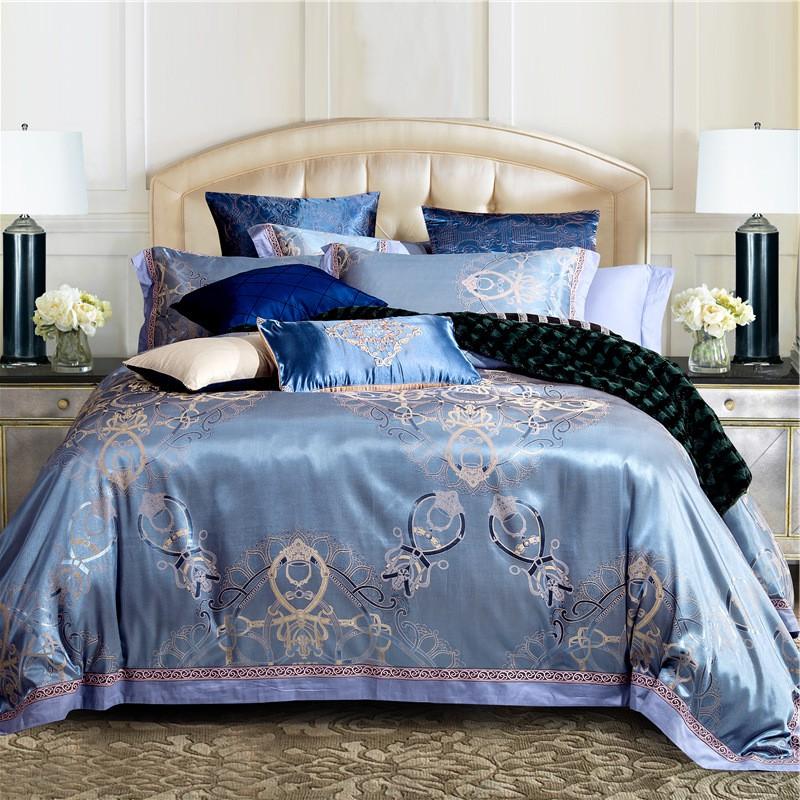 Triều thời trang cao cấp đoạn simian 4 mảnh vải dệt nổi cho bạn món quà màu xanh.