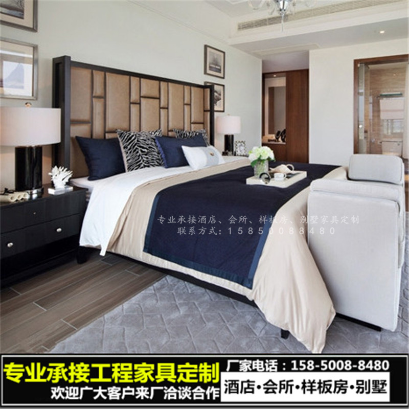 The new Chinese wood by 1.8 meters high soft bed bed Moderno Hotel Hotel Villa custom furniture