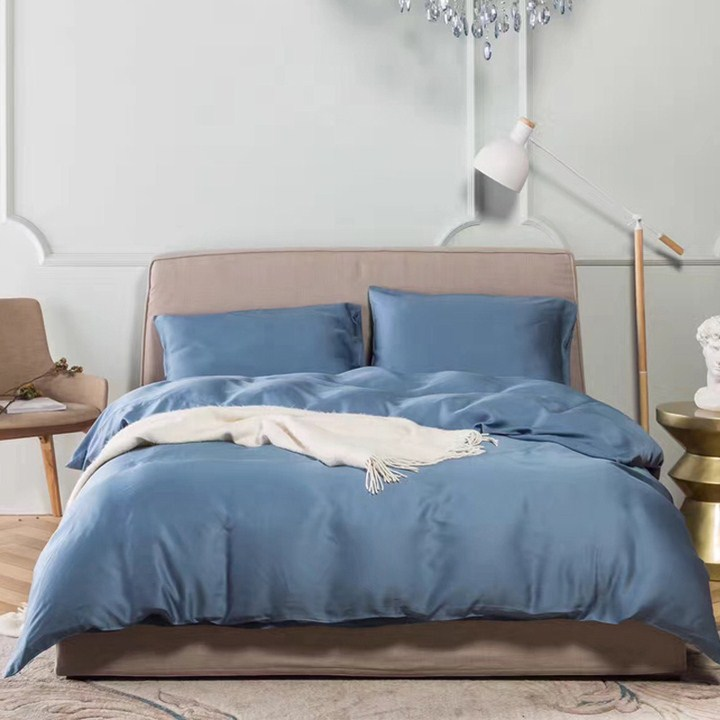 American minimalist Home Furnishing high-end silk satin plain pure Tencel four sets of high-end bedding in spring and summer