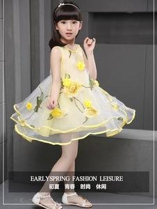 1096#新款儿童连衣裙夏装公主裙欧根纱宝宝花朵背心裙蓬蓬裙子