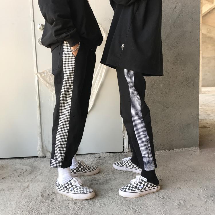 媽個雞媽 17韓國ins黑白格子拼接直筒長褲 男女款