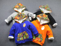 Exclusive custom tide brand children winter coat thick suits with velvet trousers two pieces of cotton padded jacket and trousers