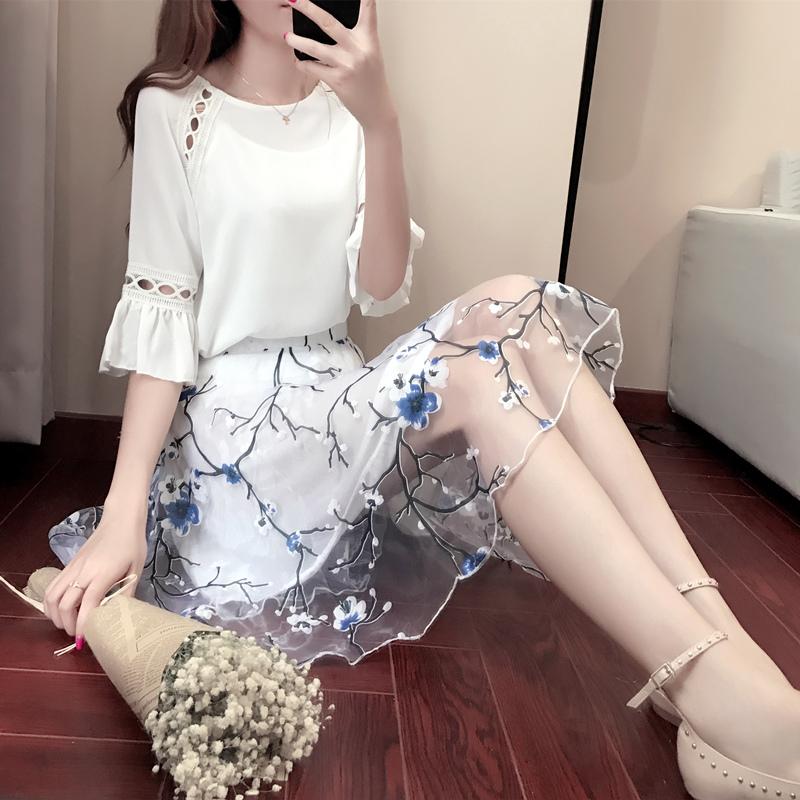 2017春季韩版修身显瘦时尚碎花连衣裙 女夏新款雪纺两件套装裙子
