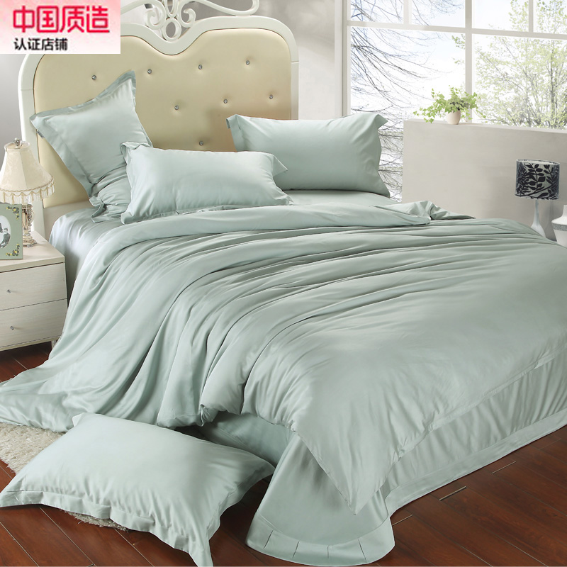 European style double solid four piece silky Satin Tencel bedding bedding custom fitted round size