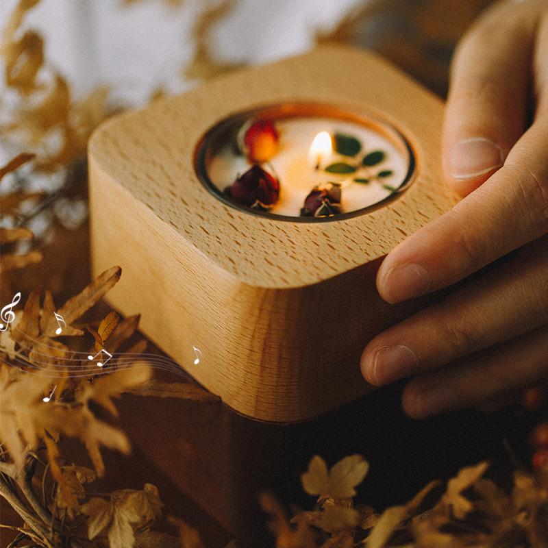 天空之城(刻字請留言或者備注)自然和家 創意木質音樂盒女生情人節禮品生日浪漫香薰燭臺八音盒