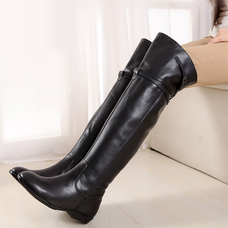 2017秋冬新款过膝长靴女真皮长筒靴平底女鞋百搭显瘦高筒大码女靴