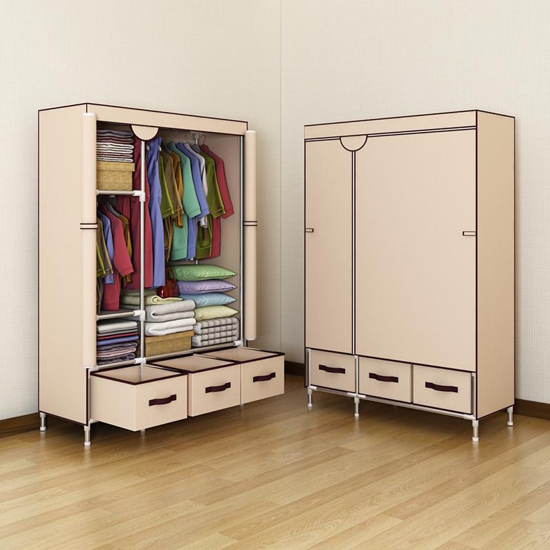 宜家衣柜简易布衣柜简约现代经济型成人组装钢管加厚单人宿舍小号