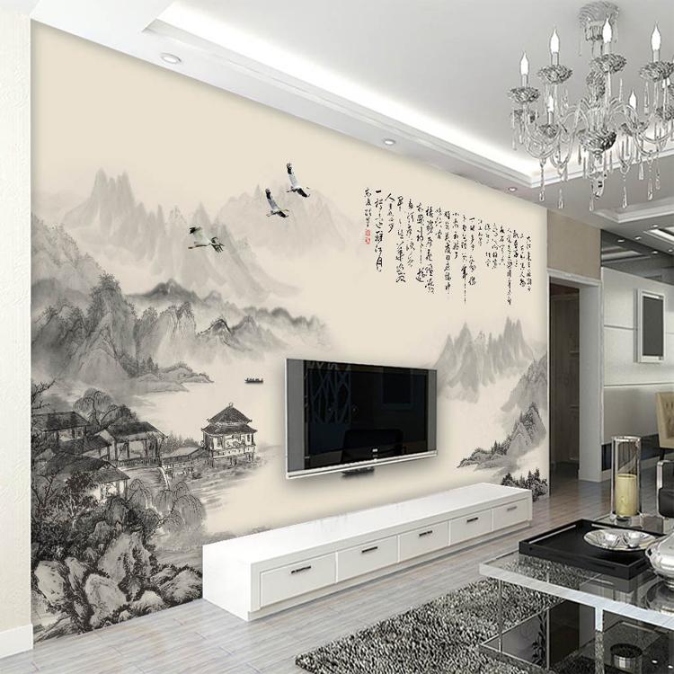韓國浮雕墻紙(拼接)/平方中式水墨山水風景詩詞電視沙發背景墻壁紙 臥室客廳墻紙 無縫壁畫