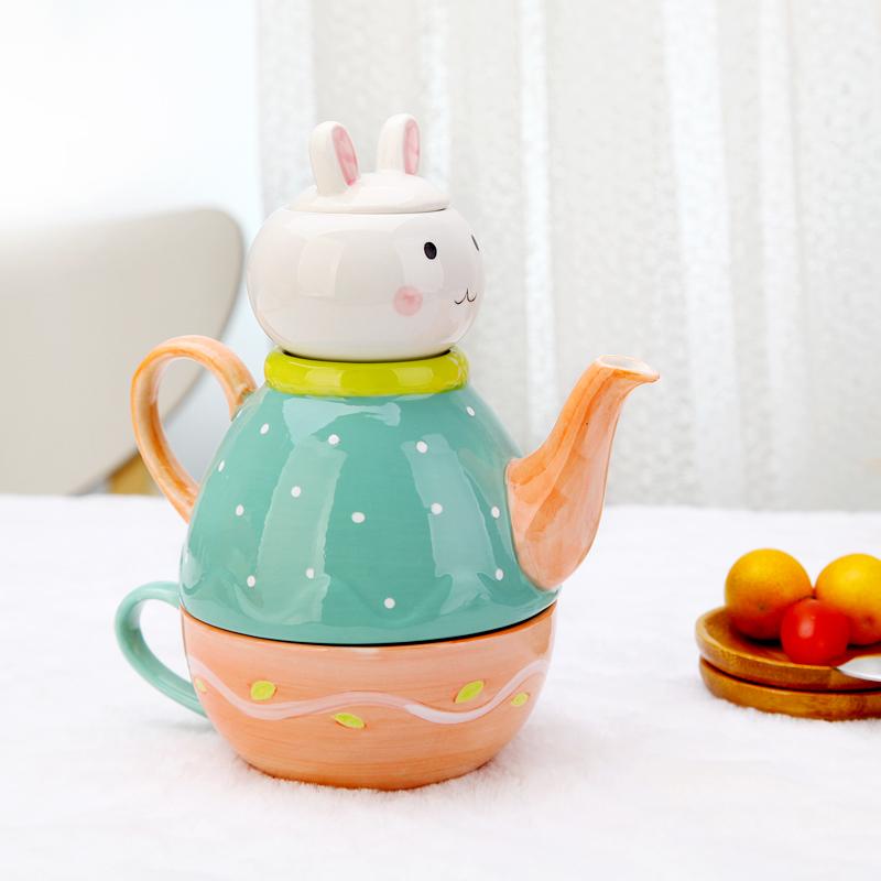 小兔3件套天天特價創意花茶壺 陶瓷下午茶花水果茶具套裝子母壺茶杯帶過濾