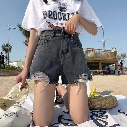 牛仔短裤女夏2018新款韩版宽松港味复古显瘦阔腿高腰a字毛边热裤