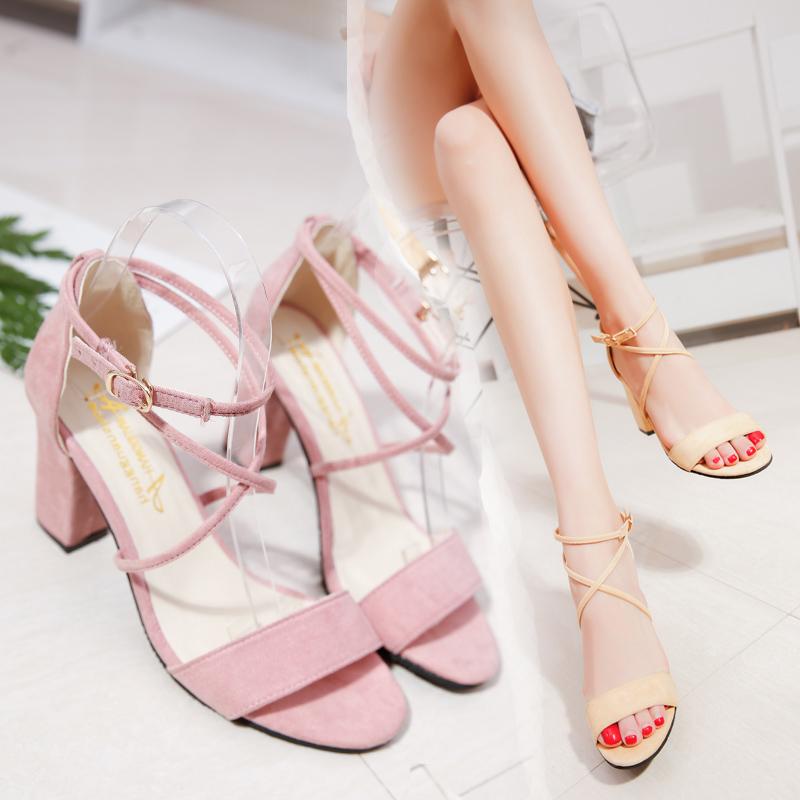 2017夏季新款韩版粗跟露趾百搭罗马学生凉鞋绑带甜美粉色高跟鞋女