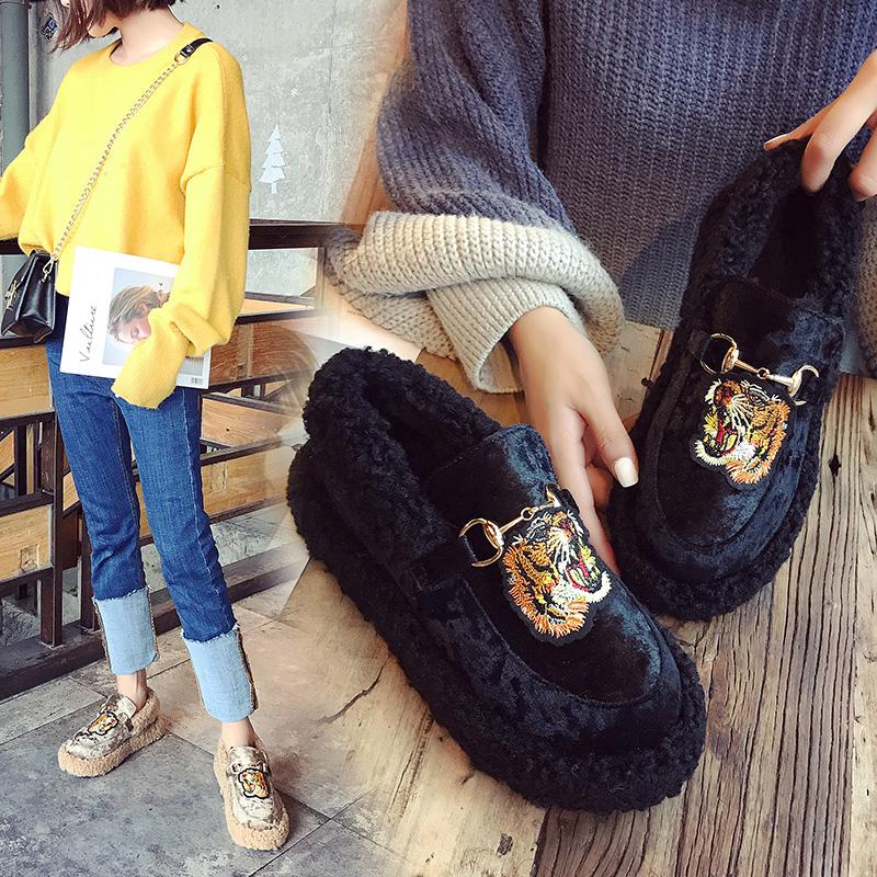 豆豆鞋女冬季2017新款韩版加绒保暖厚底面包鞋百搭毛毛棉鞋潮女鞋