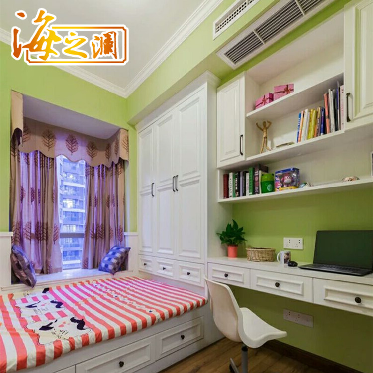 Solid wood bedroom tatami customized children room whole wardrobe bookcase platform bed full house custom furniture