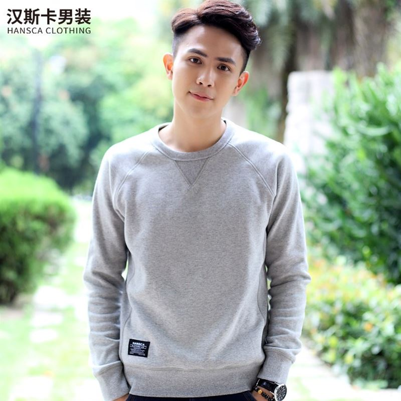 Hanska long sleeved T-shirt sweater cashmere Mens Sports plus male head tide students in autumn and winter