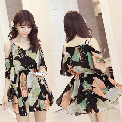 沙滩裙海边度假必备显瘦波西米亚雪纺吊带海滩裙韩国连衣裙短裙潮
