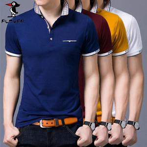 啄木鸟夏季新品男士T恤短袖 薄时尚翻领印花纯棉修身韩版打底衫