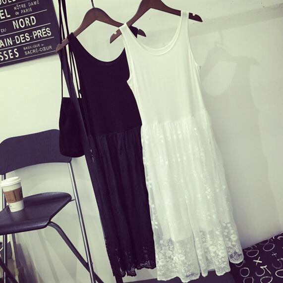 秋鼕裝新款韓版內搭打底裙蕾絲拼接中長款弔帶背心寬松大碼連衣裙