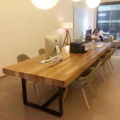 Table en bois américain, les ordinateurs de bureau 8 repas de combinaison de tables et de chaises, table de grumes de bureau.
